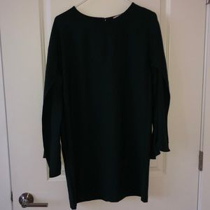 Dark Green Cape Sleeve Dress
